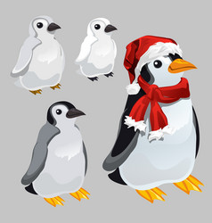 penguin in red scarf and hat in the style of new vector image