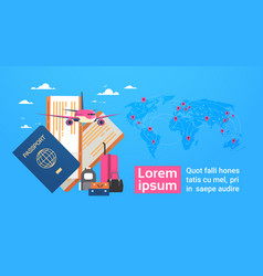 plane boarding passport and tickets with baggage vector image