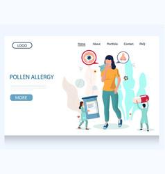 pollen allergy website landing page design vector image