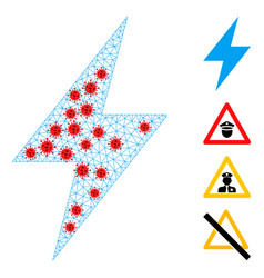 Polygonal network electric strike icon with virus vector
