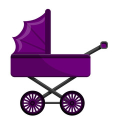 purple pram icon cartoon style vector image