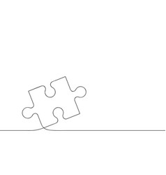 puzzle piece one continuous line drawn jigsaw vector image