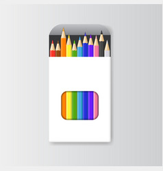 realistic detailed 3d colored pencils empty vector image