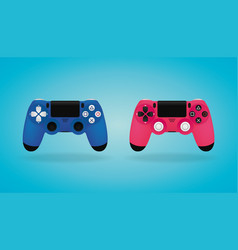 Realistic gamepad blue and pink video game vector