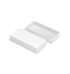Rectangular cardboard box mock up with open lid vector