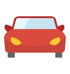 Red cartoon car front view vector image