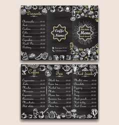 restaurant hot drinks menu design with chalkboard vector image