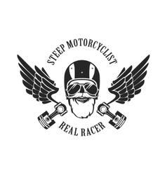 retro emblem motorcyclist vector image