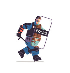 riot police officer running with shield and baton vector image