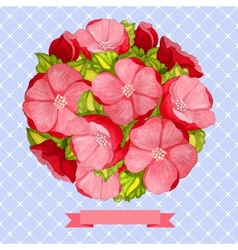 Round vintage watercolor bouquet of pink flowers vector