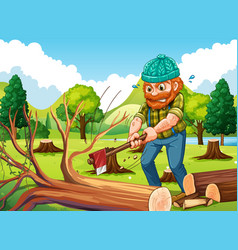 Scene with lumberjack chopping trees vector