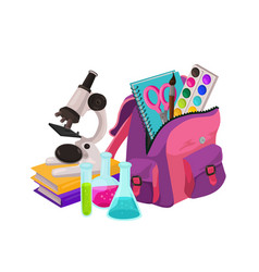 school backpack composition vector image