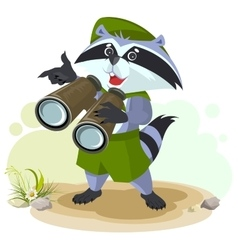 Scout raccoon with binoculars vector