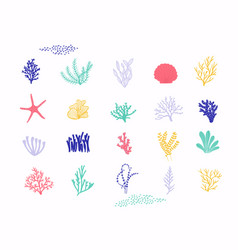 Sea plants and aquarium seaweed set isolated on vector
