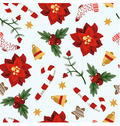 seamless pattern with christmas elements trendy vector image