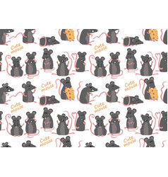 seamless pattern with cute mice in various poses vector image