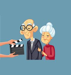 Senior actors filming movie scene with art vector