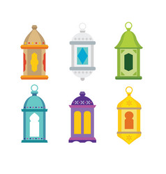 set arabic lanterns colorful decorative vector image