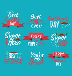 set of happy fathers day banner and giftcard best vector image