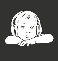 Silhouette baby in headphones vector