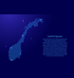 silhouette of norway country from wavy blue space vector image
