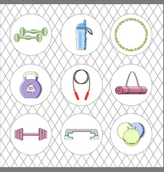 Sport icon set fitness equipment vector