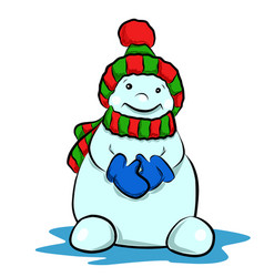 Stock cute snowman in a hat vector