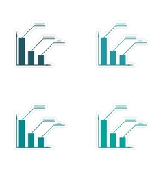 Stylish assembly sticker on paper economic graph vector image