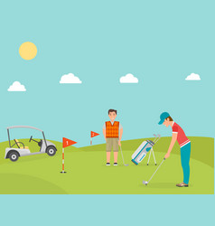 stylized golf field hobby equipment vector image
