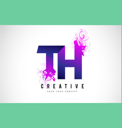 Th t h purple letter logo design with liquid vector