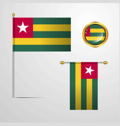 togo waving flag design with badge vector image