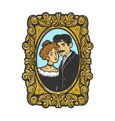 vintage photo married couple sketch vector image