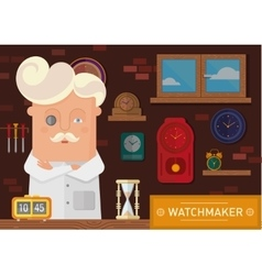 Watchmaker in the workplace with a clock on the vector