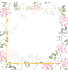 watercolor pink tiny flower branch with golden vector image