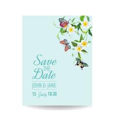 wedding invitation template tropical design vector image