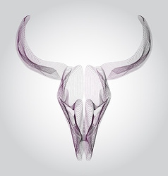 Wireframe bull skull head vector