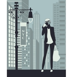 Woman In New York city vector