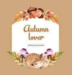 Wreath design with autumn theme watercolour oak vector
