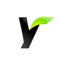 Y letter black and green logo design Fast speed vector image
