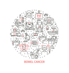 bowel cancer icons vector image vector image