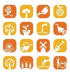 color gardening icon set vector image vector image