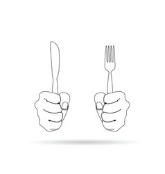 cutlery in hand drawing on white background vector image