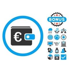 Euro Purse Flat Icon with Bonus vector image vector image