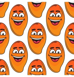 Laughing happy tropical mango seamless pattern vector image