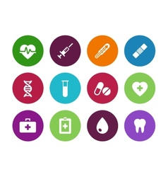 Medical circle icons on white background vector image vector image