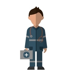 paramedic character uniform stethoscope kit first vector image