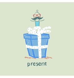person gives a gift vector image