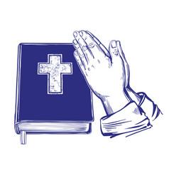 praying hands bible gospel the doctrine of vector image vector image