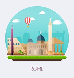 Rome Skyline and landscape of buildings and famous vector image vector image