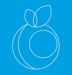 Round apple with leaves icon outline style vector